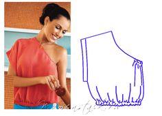 Instructions not English :( Sewing Blouses, Sewing Shirts, Sewing Hacks, Sewing Tutorials, Sewing Crafts, Fashion Sewing, Diy Fashion, Diy Clothes Bag, Pattern Cutting