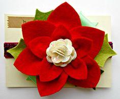 Felt Flowers Poinsettia Felt Flower Headband by giddyupandgrow