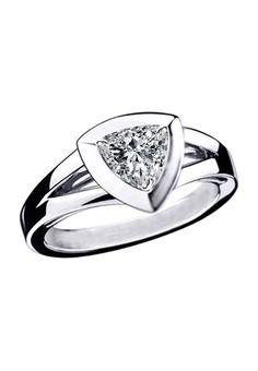 Modern Trillion Shape Diamond Solitaire Triangular bezel Engagement Ring in White Gold