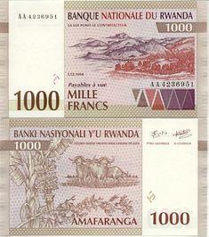 Rwanda 1000 Francs 1.12.1994 (Water buffalo, hills) Crassula Ovata, Water Buffalo, Vintage World Maps, Coins, Africa, Travel, Old Coins, Hanging Medals, Money