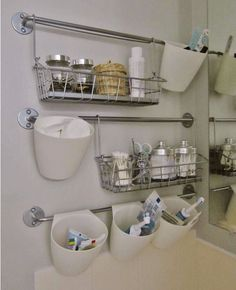 Small Bathroom Hook System - We all have towel racks but are they truly being utilized to their full potential? Maybe not. Here's a super organizational hack that is super for those of us that are budget-minded. With just a few drop hooks and hanging baskets, you can see how easy it is to increase your storage with little sweat equity.