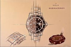 Rolex Submariner Mural - Acrylic Painting on Canvas - 349 Euro Modern Sculpture, Bronze Sculpture, Sculpture Art, Rolex Submariner, Patek Philippe, Large Painting, Acrylic Painting Canvas, Watch Drawing, Old Watches