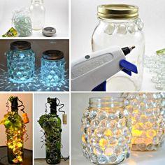 Glass Luminaries Make Wonderful Centrepieces Glass Containers, Glass Jars, Mason Jars, Nifty Crafts, Jar Crafts, Cool Diy, Easy Diy, Glass Block Crafts, Glass Craft