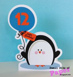 Small Bits of Paper: Penguin Birthday Card