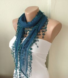 Teal Green Cotton Scarf with Tassel Lace by Periay on Etsy, $15.00
