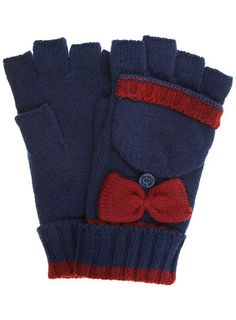 Navy bow fingerless gloves - Gloves - Accessories - Dorothy Perkins