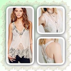Free People Intimates Lace Cami Adorable feminine cami makes a great layering piece, soft green and ivory with lots of intricate lace panels Free People Tops Camisoles