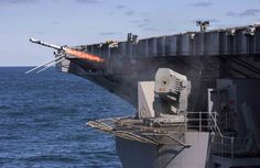 ATLANTIC OCEAN (March 3, 2016) A rolling-airframe missile (RAM) fires from the aircraft carrier USS Dwight D. Eisenhower (CVN 69) during a live-fire exercise. Dwight D. Eisenhower is  underway for a Mobile Training Team (MTT) inspection. (U.S. Navy photo by Mass Communication Specialist 3rd Class R. U. Kledzik/Released)