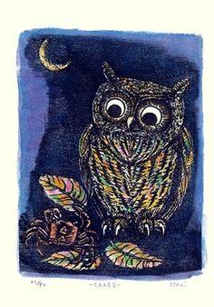 Artist: Otaro Yamaguchi. Keywords: bird modern contemporary style woodblock woodcut print picture hanga japan japanese orient oriental asia asian art readercollection.com scops owl