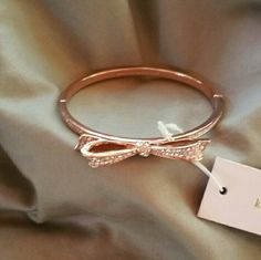 Kate Spade Bracelet Beautiful crystal bow bracelet. Hinged style. Rose gold . kate spade Jewelry Bracelets