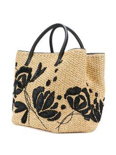 Ermanno Scervino Flower Shoulder Bag - Bag and Purse Leather Bags Handmade, Handmade Bags, Ethno Style, Crochet Handbags, Crochet Bags, Embroidery Bags, Art Bag, Designer Shoulder Bags, Basket Bag