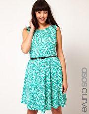 ASOS Curve   ASOS CURVE Exclusive Skater Dress In Geo Print With Belt at ASOS