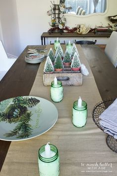 Dining room tablescape Holiday Housewalk by somuchbetterwithage.com   trees in pots