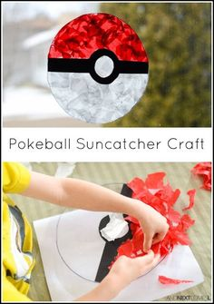 How to make a Pokeball suncatcher | Fun kids craft activity for a sunny day using tissue paper.
