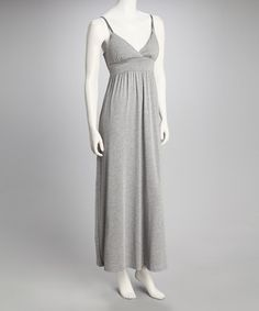 Gray Sash-Tie Maxi Dress by Feathers on #zulily, also available in dark grey/brown, yellow, aqua, blue, green, red, hot pink. $22