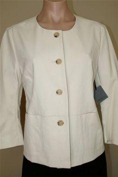 New NWT $495 Premise by Theory Bone Off White Doris Jacket size L #PremisebyTheory #BasicJacket