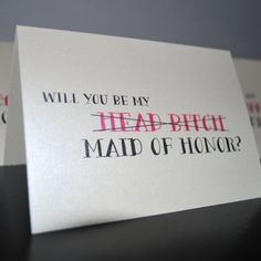 Too funny…. Set of 5 Will You Be My Bitch Bridesmaid, Maid of Honor, Matron of Honor, Funny Bridal Party Card