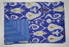 Gettare nuova indiano Kantha trapunta doppia dimensione lenzuolo cotone Paisley a mano bella Design copriletto copriletto floreale indiano blu