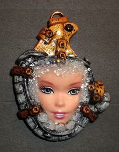 Steampunk  Barbie Face Necklace by mkirby on Etsy, $20.00