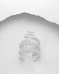 sterling silver star ring pave set with cubic zircon