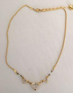"""Swarovski Goldtone Necklace with 3 Crystal Hearts 18"""" #Swarovski"""