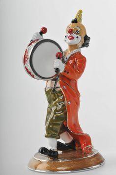 Clown with drums Trinket Box by Keren Kopal Faberge Egg Swarovski Crystal