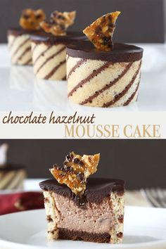 These beautiful chocolate hazelnut mousse cakes or entremet are both pretty and delicious. You can't go wrong with the combination of chocolate and hazelnut. via @dessarts