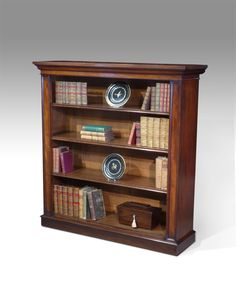 Large 19th Century Mahogany Open Bookcase Moulded Cornice Over Three Adjule Shelves Flanked By Pilasters Raised On A Plinth Base Circa 1840