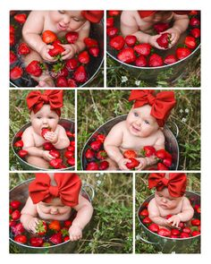 Mona's 8 month strawberry fruit bath milestone photos are SO cute!