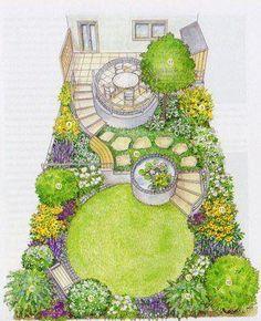 urban garden Landschaftsplan kleiner G - Small Garden Plans, Garden Design Plans, Landscape Design Plans, Small Garden Layout, Small To Medium Garden Ideas, Landscape Sketch, Watercolor Landscape, Landscape Paintings, Small Backyard Design