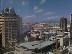 A view from my hotel (Aston at the Executive Centre)  window downtown Honolulu.