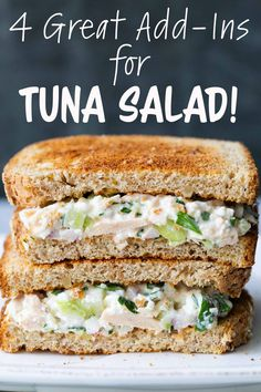 Best Ever Tuna Salad Sandwich! ~ Uses tuna, canned or freshly cooked, cottage ch… – Sandwiches – Tuna Fish Recipes Healthy Tuna Recipes, Fish Recipes, Healthy Meals, Salad Recipes, Nutritious Meals, Canned Tuna Recipes, Snack Recipes, Dinner Recipes, Healthy Recipes