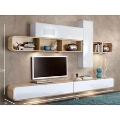 TV cabinets, cabinets and storage units, TV wall composition COBRA white and oak design Tv Cabinet Design, Tv Unit Design, Tv Wall Design, Tv Unit Decor, Tv Wall Decor, Wall Tv Stand, Tv Wanddekor, Modern Tv Wall Units, Muebles Living