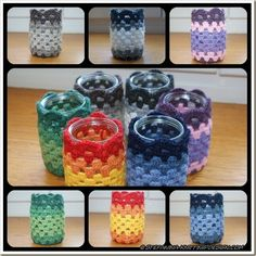 granny square cup / mug / pot holder for pencils, hooks, etc cute! by tracey