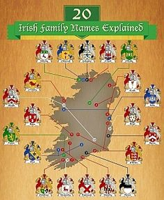 If you have Irish roots, this Infographic gives details about 20 of the most common Irish surnames. (POWER is our original family name, Americanized to Powers. Genealogy Research, Family Genealogy, Genealogy Websites, Family Research, Irish Roots, Family Roots, Irish Blessing, Ancestry, Family History
