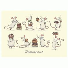"""Chocoholics Two Bad Mice have wide range of Greeting cards for pet mice and rat admirers. Anita Jeram illustrated """"Guess How Much I Love You"""" Animal Drawings, Cute Drawings, Rats Mignon, Anita Jeram, Pet Mice, Dibujos Cute, Cute Mouse, Children's Book Illustration, Cute Art"""