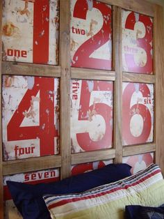 Framed metal numbers turned into a headboard in a boy's room. Could use colors pink and blue for a shared room for my kiddos! Letters And Numbers, Metal Numbers, Vintage Numbers, Home And Deco, Do It Yourself Home, Kids Bedroom, Kids Rooms, Boy Rooms, Master Bedroom