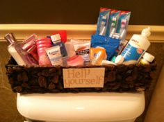 Things To Have In A Guest Room Bathroom Guest Basket. Good idea to keep in the bathroom closet. Guest Bathrooms, Guest Rooms, Small Bathroom, Bathroom Ideas, Guest Bed, Guest Basket, Bathroom Closet, Toilet Closet, Washroom