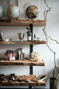 True definition of live edge shelves. Adore the raw, naturalness of these pieces.   #liveedge #shelving #storage #knickknacks #decor #trinkets