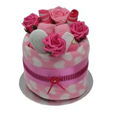 Baby girl nappy cake baby shower maternity gift dark pink