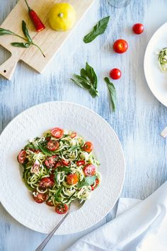 Fresh Zucchini + Feta Noodles with cherry tomatoes