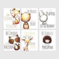 Woodland Nursery Decor Animal Nursery Prints Fox Nursery Be