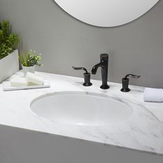 Elavo™ Ceramic Oval Undermount Bathroom Sink with Overflow