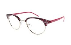 #eyeglasses# #spectacle# #red# Glasseslit.com  semi-rim C00066 fashion accessories for women