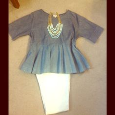 Fun Anthropologie Chambray Peplum Top! Fun Anthropologie chambray top is made of 100 % cotton. Measures 23 inches from armpit to armpit. This is a fun and flowing top will be a standout in your wardrobe. NWOT! The chambray is a bit lighter on the peplum piece. Anthropologie Tops