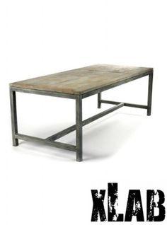 Tavolo in ferro e legno stile industrial design XLAB
