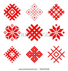 Set of national belarus ornament. Slavic Tattoo, Tribal Symbols, Embroidery Saree, Ethnic Patterns, Geometric Designs, Cute Drawings, Royalty Free Photos, Projects To Try, Clip Art