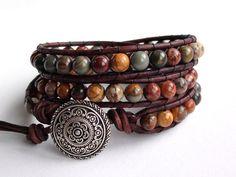 Leather Wrap Bracelet  Falling Leaves  Red Creek by TaphiaDesigns, $40.00