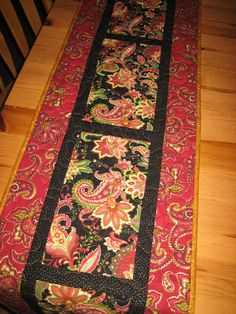 Quilted Table Runner Christmas Holiday Paisley by TahoeQuilts