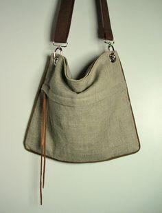 Urban Messenger Bag in  Natural or Metalic Natural Linen. $54.00, via Etsy.